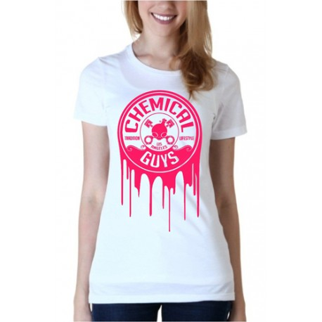 WOMAN WHITE/PINK DRIPPING LOGO SHIRT, 2015 EDITION