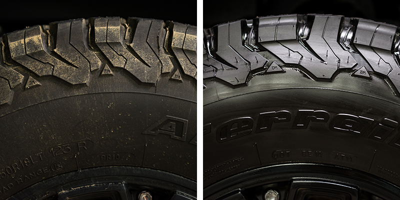 tire trim dressing - long lasting - before and after